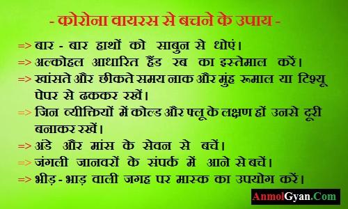 Corona Virus Se Bachane Ke Upay in Hindi