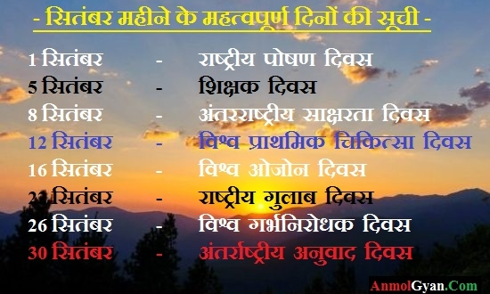 List of Important Days of September hindi